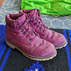 Timberland pink and purple boots